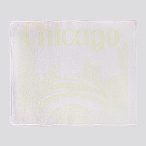 Chicago_10x10_ChicagoBeanSkylineV1_C Throw Blanket